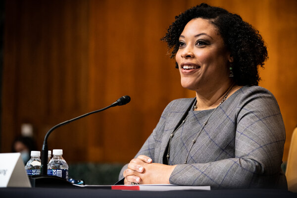 Shalanda Young testifying during her confirmation hearing before the Senate Budget Committee on Tuesday.