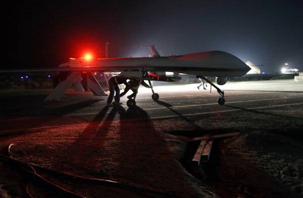 A U.S. Air Force MQ-1B Predator drone in the Persian Gulf region in 2016. Counterterrorism drone warfare has reached its fourth administration with President Biden.