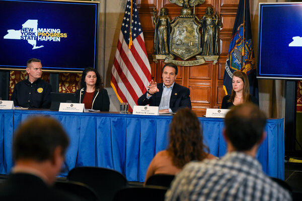 Gov. Andrew M. Cuomo at a briefing on the pandemic a year ago. His thorough, sometimes folksy daily updates drew national attention.