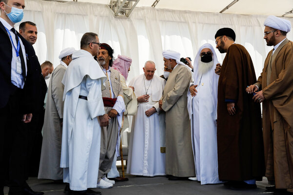 Pope Francis, center, at an interreligious meeting at the Plain of Ur, Iraq, on Saturday.
