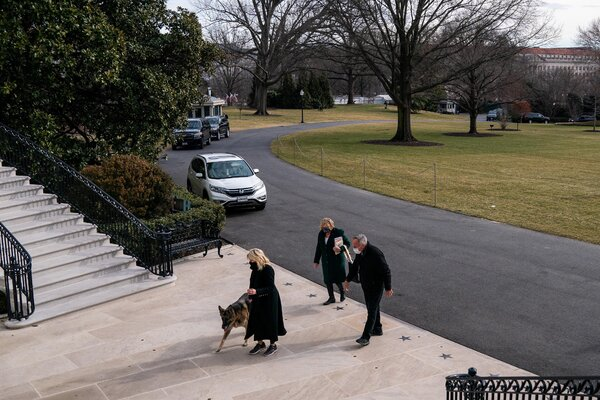 First Lady Jill Biden leads Champ into the White House in January. The Bidens' dogs, Champ and Major, arrived four days after President Biden was sworn in.