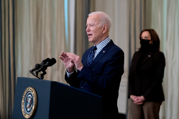 President Biden, joined by Vice President Kamala Harris, delivers remarks at the White House on Saturday, following the Senate vote to approve a $1.9 trillion pandemic relief package.