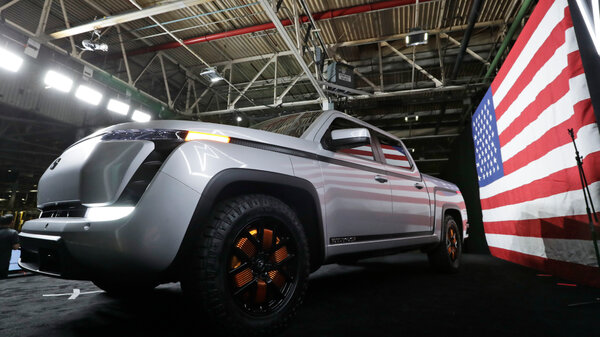 The electric Endurance pickup truck made by Lordstown Motors. An investment firm claimed the company had inflated the number of orders for its pickup trucks.