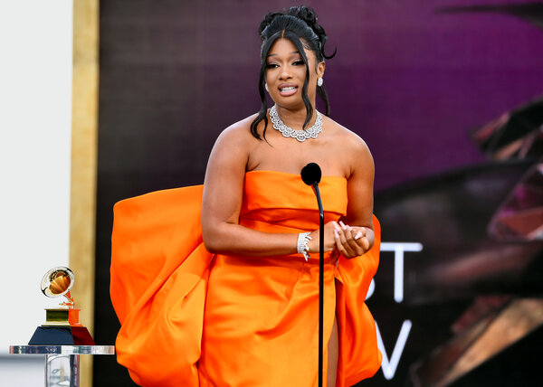 """Megan Thee Stallion won one of the """"big four"""" categories at the Grammys, best new artist."""