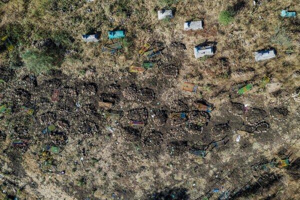The cemetery where victims of a massacre were buried in in Mai Kadra, Tigray, in November.