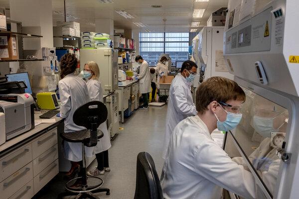 Investigadores que trabajan en la vacuna de AstraZeneca en Oxford, Inglaterra, el año pasado en Oxford.