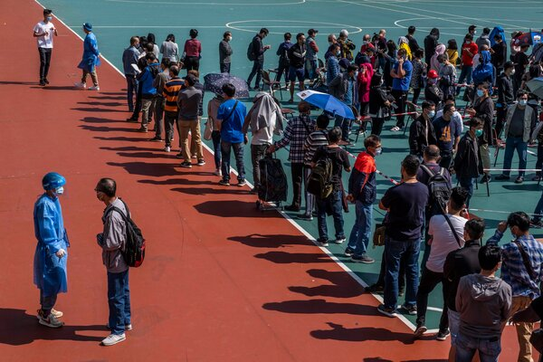 A line for coronavirus testing in Hong Kong on Wednesday.