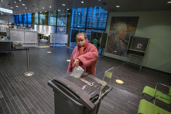 Casting a ballot at a polling station in the Van Gogh Museum in Amsterdam on Wednesday.