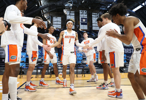 Tre Mann of the Florida Gators being introduced before the start of their first round game against Virginia Tech on Friday.