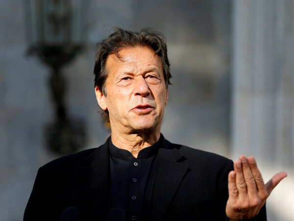 Prime Minister Imran Khan of Pakistan last year. He is isolating after testing positive for the virus.