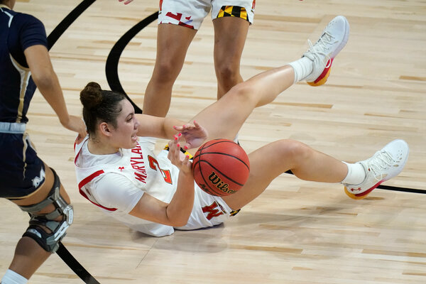Mimi Collins scrambling for a loose ball during Maryland's first round game against Mount St. Mary's.