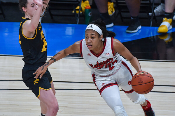 Arella Guirantes of the Rutgers Scarlet Knights in a game against Iowa in the Big Ten tournament.