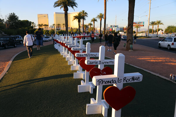 Wooden crosses bearing the name of each of the shooting victims were set-up in the median strip on Las Vegas Blvd shortly after the mass shooting in 2017.