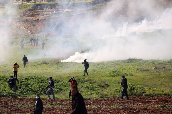 A demonstration against an Israeli settlement near Nablus in the occupied West Bank this month. The prospect of a final status agreement between Israel and the Palestinians remains dim, regardless of the Israeli election outcome.
