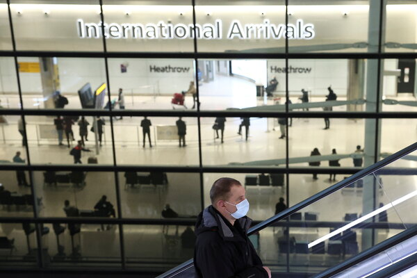 At Heathrow Airport, near London, last month. England's new rules would exclude those traveling for some work, elite sporting competitions or education.