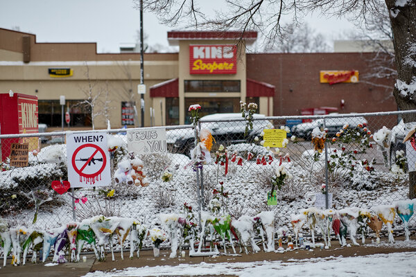 A makeshift memorial at the King Soopers grocery store in Boulder, Colo., where a mass shooting on Monday left 10 dead.