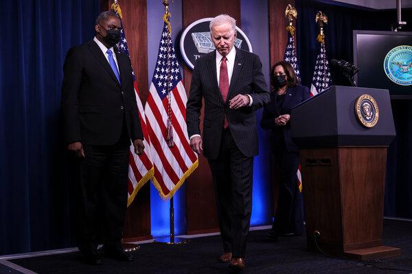 President Biden addressed Defense Department staff members alongside Vice President Kamala Harris and Defense Secretary Lloyd J. Austin III at the Pentagon last month.