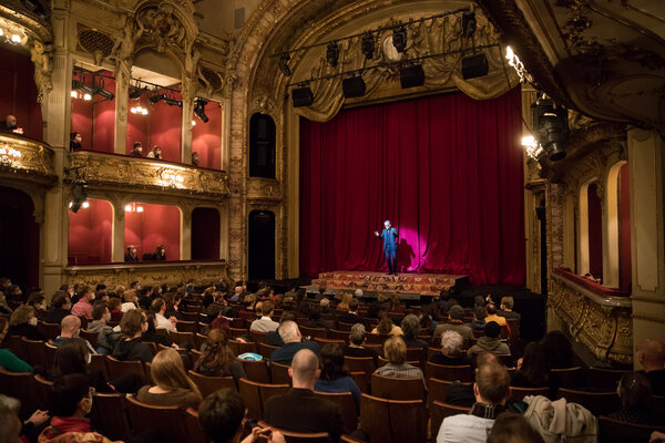 Oliver Reese, the director of the Berliner Ensemble theater, greeted visitors last weekend before a performance at which every second seat was left empty.