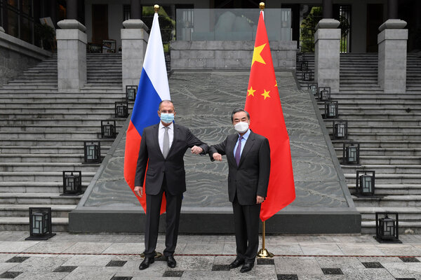 "Sergey V. Lavrov, left, and Wang Yi, the Russian and Chinese foreign ministers, in Guilin, China, last week. They urged the United States to ""reflect on the damage it has done."""