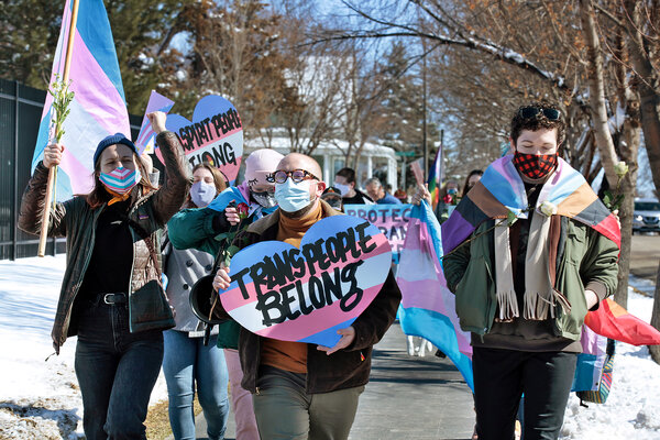People protesting this month outside the governor's mansion in Pierre, S.D. They were marching against a bill that would bar transgender girls and women from participating in sports leagues.
