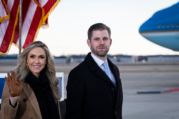 "Lara Trump with her husband, Eric, in January. ""I sort of feel like I've been an unofficial member of the team for so long,"" Ms. Trump told the co-hosts of ""Fox & Friends"" on Monday."