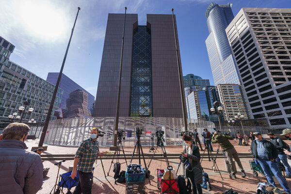 The site of the Derek Chauvin trial, the Hennepin County Government Center inMinneapolis, earlier this month.