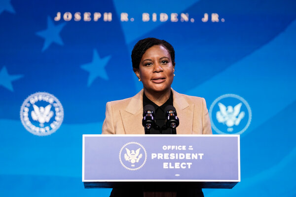Alondra Nelson, the Biden administration's deputy director for science and society, speaking in Wilmington, Del., in January.