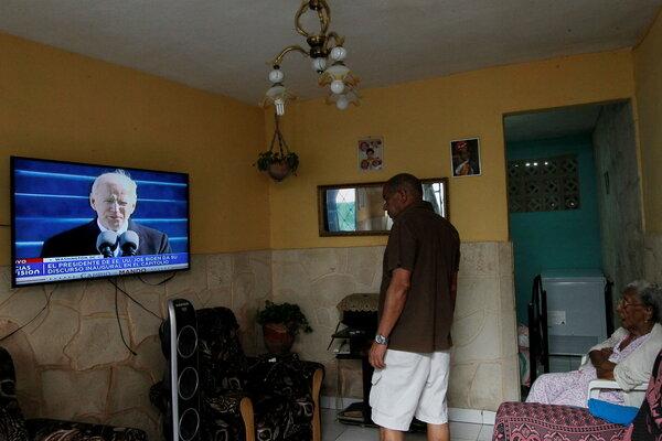 Watching President Biden's inauguration in Havana in January.