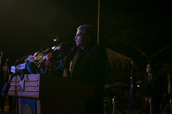 Lt. Gen. Osama Rabie, chairman of the Suez Canal Authority, at a news conference on Monday evening.