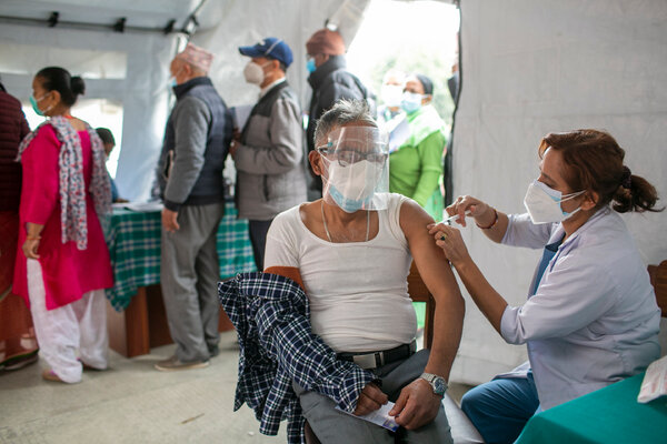 A vaccination center in Kathmandu, Nepal, this month.