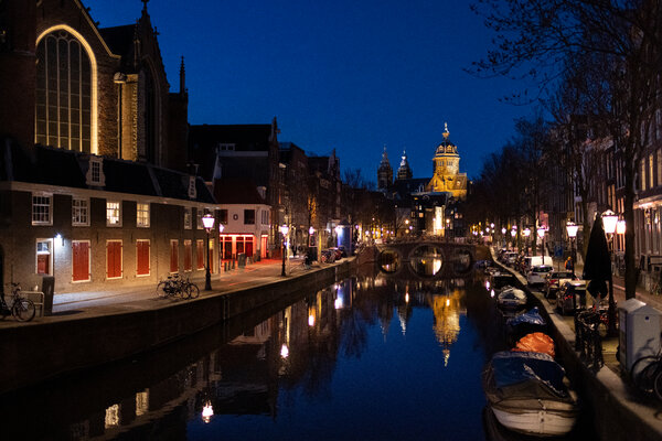 The Red Light District in Amsterdam was nearly deserted on Thursday night.