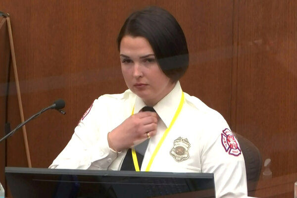 Genevieve Hansen, a firefighter and emergency medical technician who witnessed the arrest of George Floyd, testifying on Tuesday. She returned to the stand on Wednesday.
