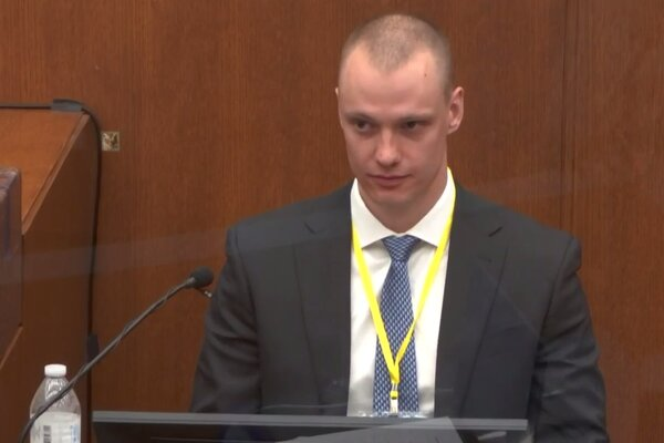 Seth Zachary Bravinder, a paramedic, testifies in the trial of former Minneapolis Police Officer Derek Chauvin at Hennepin County District Court on Thursday.