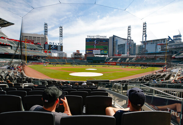 The Atlanta Braves played the Miami Marlins at home in October.  Major League Baseball is facing calls on Georgia's new law to move the All-Star Game from Atlanta that restricts access to voting.