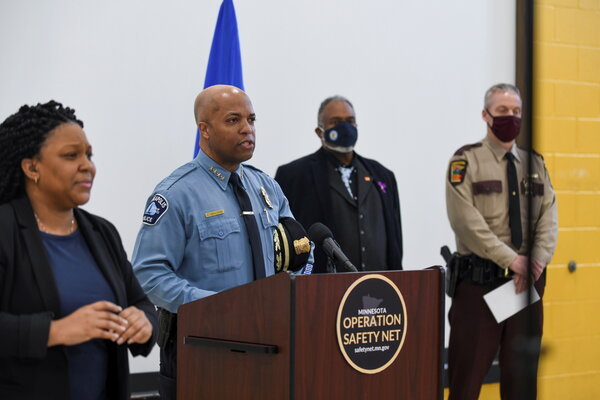 Minneapolis Police Chief Medaria Arradondo speaking at a news conference during jury selection for the trial of Derek Chauvin.