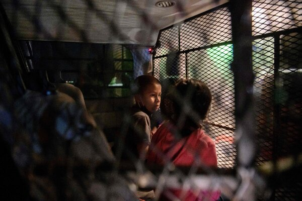 Two unaccompanied child immigrants who crossed the Rio Grande river from Mexico were detained by border patrol agents in Roma, Texas.
