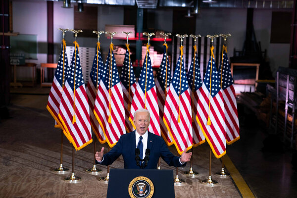 President Biden introducing his infrastructure plan on Wednesday. He is counting on voters' bipartisan support to overcome Republican objections in Congress.