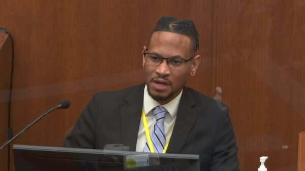 Sgt. Jon Edwards testifying during the trial of the former Minneapolis police officer Derek Chauvin on Friday.