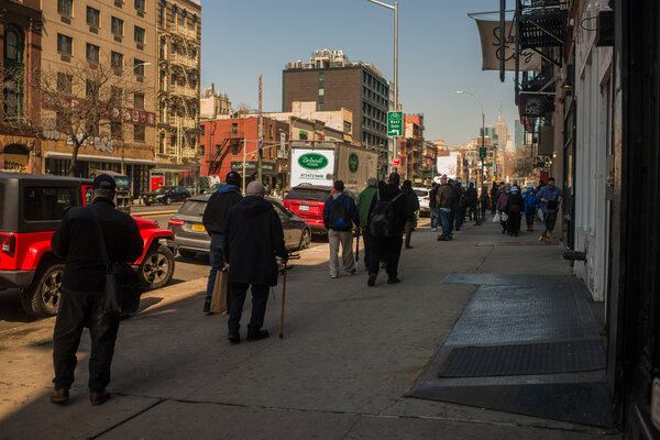 A line for meals at the Bowery Mission in New York last month.Some people who would benefit most from the stimulus are having the hardest time getting it.