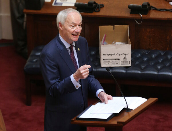 """Gov. Asa Hutchinson of Arkansas had vetoed the bill on Monday, calling it """"overbroad"""" and """"extreme."""""""
