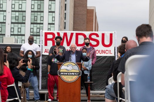 Senator Bernie Sanders spoke at a rally in Alabama on March 26 in support of a union drive at an Amazon warehouse.