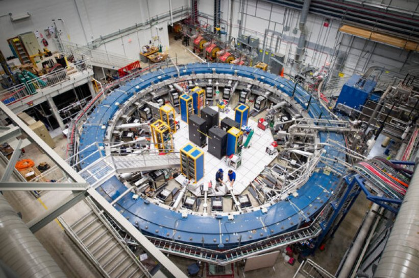 The muon g-2 ring at the Fermi National Accelerator Laboratory in Batavia, Illinois, operates at minus 450 degrees Fahrenheit and studies the wobbling of muons as they move through the magnetic field.