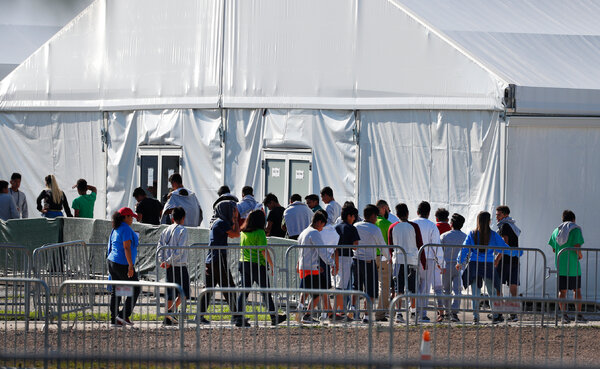 A temporary shelter for unaccompanied migrant children in Homestead, Fla., in 2019.