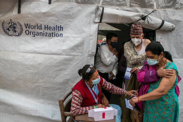 A vaccination center in Kathmandu, Nepal, last month.