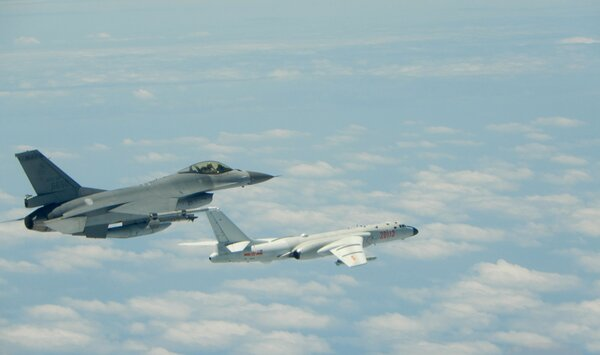 A Taiwan Air Force F-16 jet fighter monitored a Chinese Air Force H-6 bomber flying near Taiwan in 2018. In recent days China has flown 15 warplanes near Taiwan.