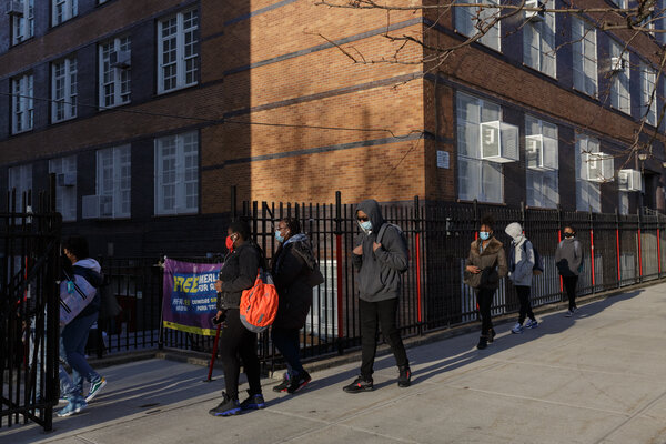 Students lining up to enter Clara Barton High School in Crown Heights last month.