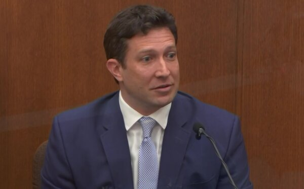 Dr. Jonathan Rich, a cardiologist from Chicago, testifying on Monday during the trial of the former officer Derek Chauvin at the Hennepin County Courthouse.