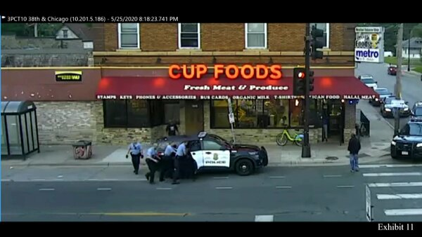 Security-camera footage showing the arrest of George Floyd outside of Cup Foods last May.