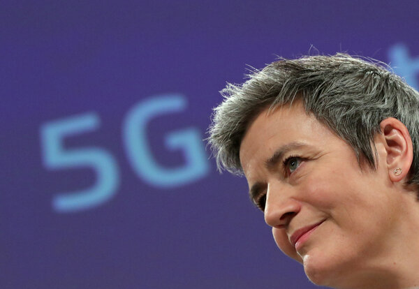 """""""The E.U. is spearheading the development of new global norms to make sure A.I. can be trusted,"""" said Margrethe Vestager of the European Commission."""
