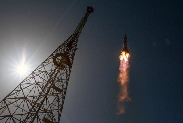 A Russian Soyuz spacecraft launched on April 9, carrying three astronauts to the space station.